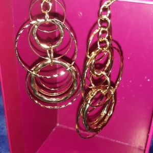 Pure Exressions Drop Hoops on Chains Earrings
